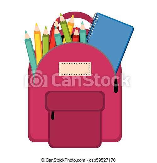 Bag with school supplies - csp59527170
