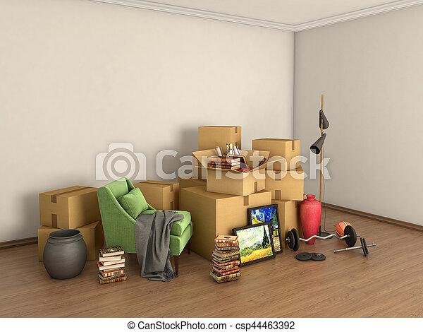 bagage, rum, illustration, mitt, rutor, tom, 3 - csp44463392