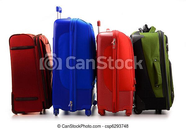 bagage, suitcases, isolerat, stort, vit, bestå - csp6293748