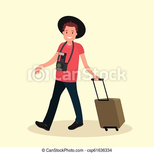 bagagem, ar, ir, aeroporto., passenger., homem - csp61636334