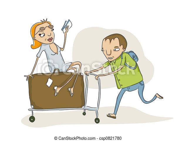 Bagages surcharg charrette croquis pousser surcharg - Charrette dessin ...