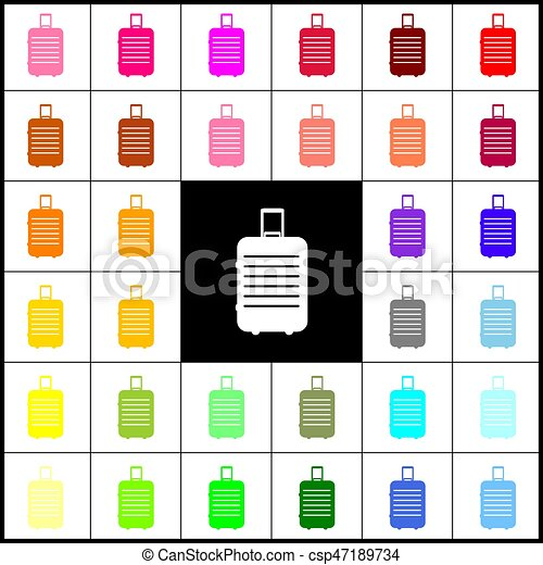 Baggage sign illustration. Vector. Felt-pen 33 colorful icons at white and black backgrounds. Colorfull. - csp47189734