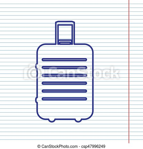 Baggage sign illustration. Vector. Navy line icon on notebook paper as background with red line for field. - csp47996249
