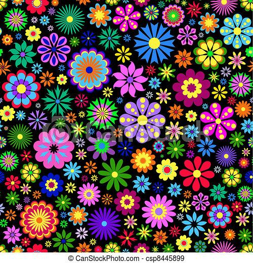 baggrund, blomst, sort, farverig - csp8445899