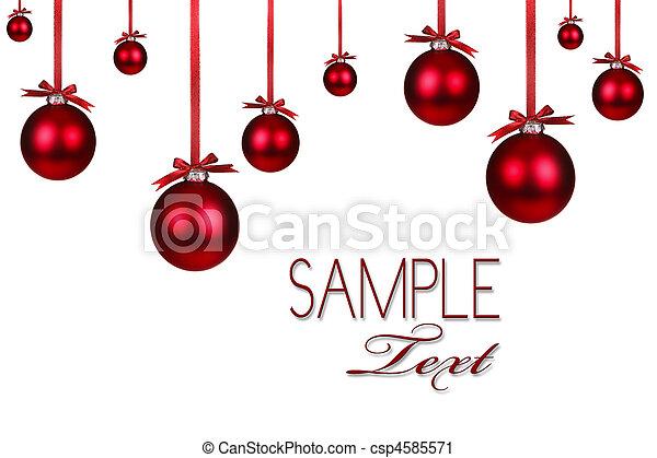 baggrund, ferie, jul, rød, ornamentere - csp4585571