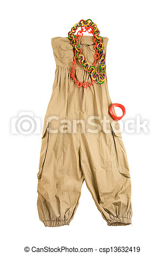 154601d16615 Baggy jumpsuit ethnic styling fashion composition isolated on white  background. clipping path included.