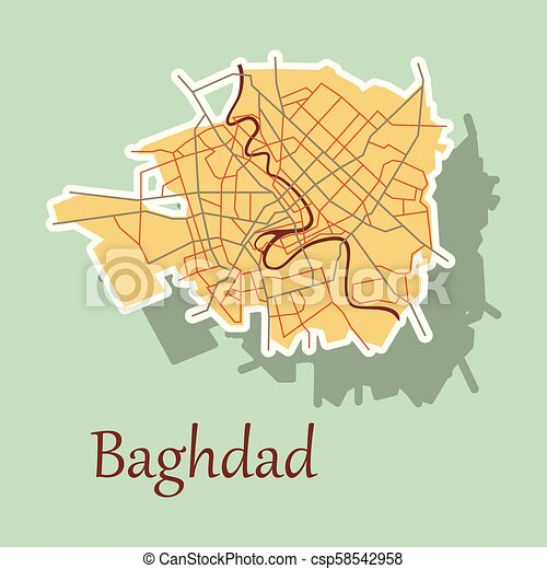 Baghdad city map - iraq. sticker. isolated on background.