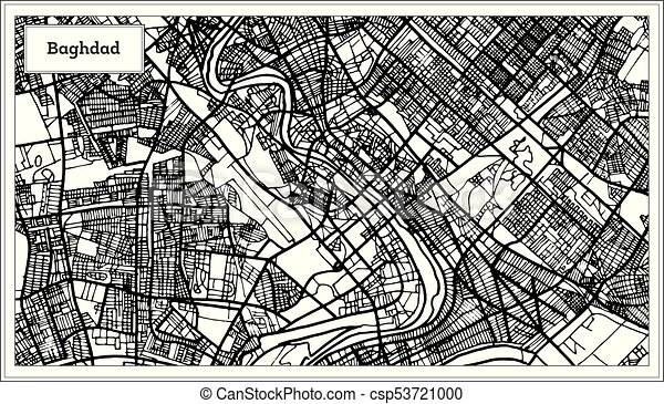 Baghdad Iraq City Map in Black and White Color