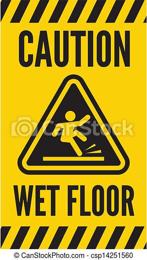 bagnato, attenzione, pavimento - csp14251560