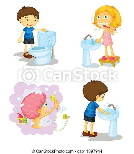 Bagno bambini accessori illustrazione fondo bianco - Bagno per bambini ...