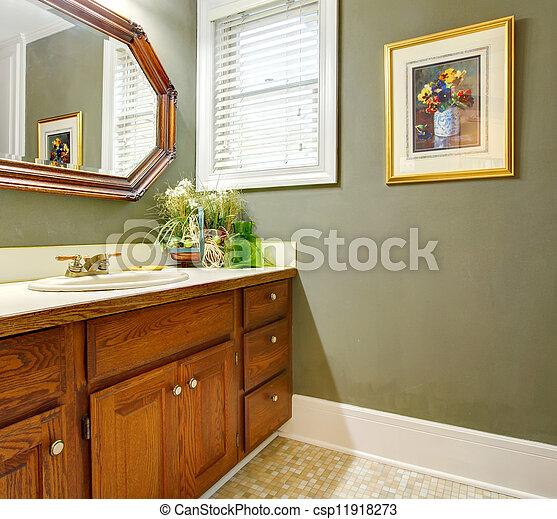 bagno, cabinets., classico, semplice, legno, verde - csp11918273