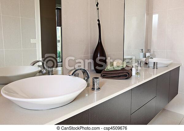 Bagno, contemporaneo. Moderno, brown., sinks., doppio, terroso ...
