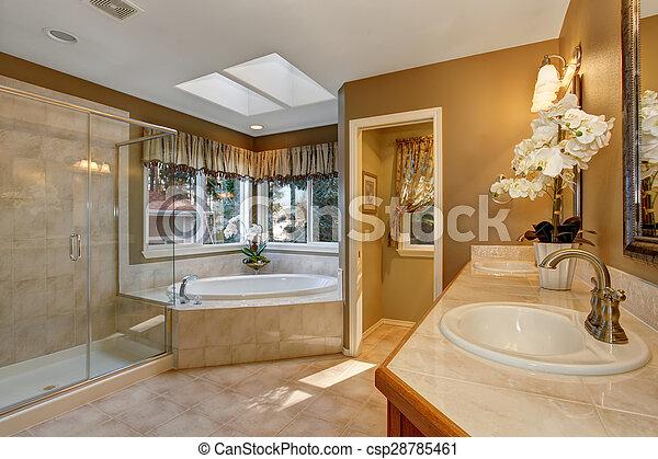 Bagno elegante shower grande vetro maestro piastrella