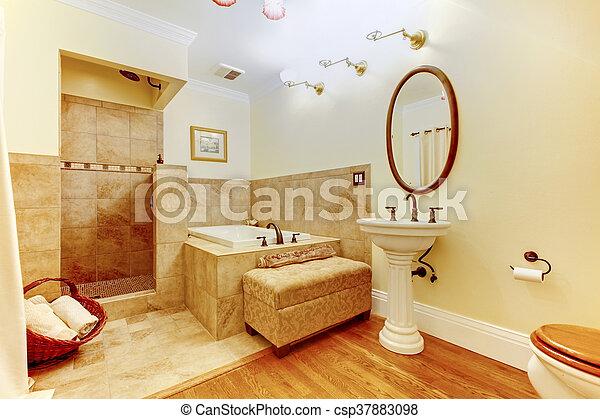 Bagno legno duro moderno pavimento doccia interno lavandino
