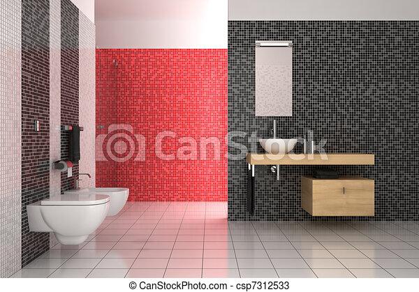Disegni di bagno moderno tegole nero bianco rosso moderno bagno csp7312533 cerca - Bagno moderno rosso ...