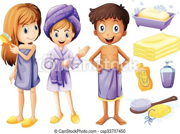 Bagno oggetti bambini illustrazione vettore di clipart - Oggetti per il bagno ...