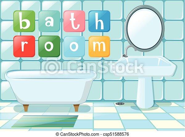 Bagno Scena Dicitura Bagno Scena Illustrazione Dicitura Canstock