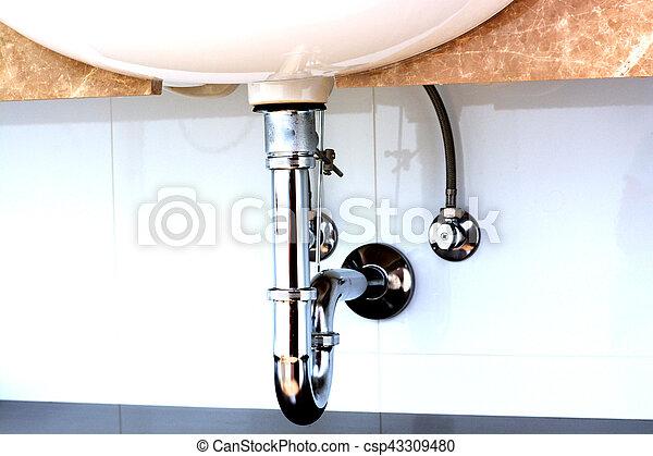 Bagno, scolo, sifone, lavandino, bacino, o.