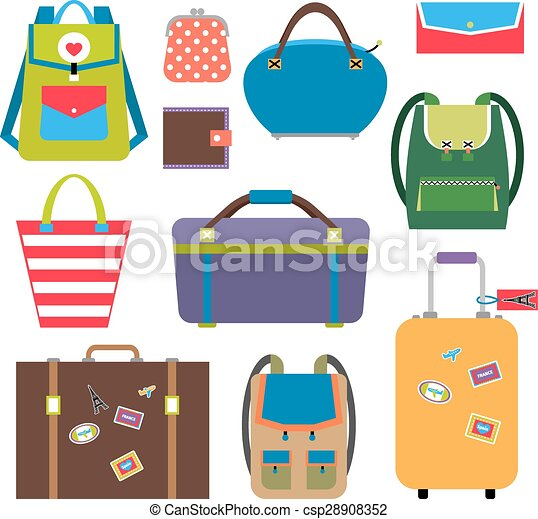 Bags and luggage flat icons - csp28908352