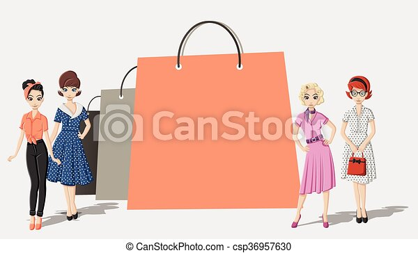 bags and pretty women  - csp36957630