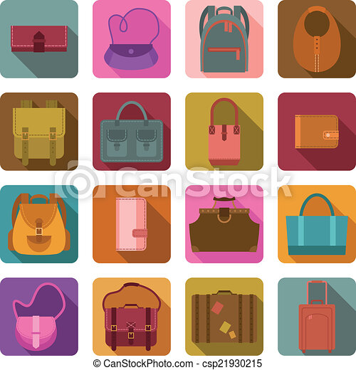 Bags colored flat icons set - csp21930215