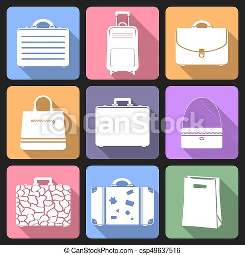 Bags flat icons with long shadow - csp49637516