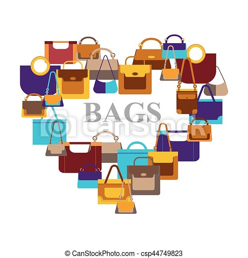 Bags icons in shape heart - csp44749823