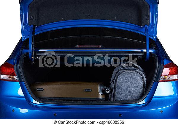Bags in open modern car trunk - csp46608356