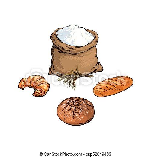 Baguette croquis ensemble pain farine vecteur sac croquis conception logo burlap set - Coloriage farine ...