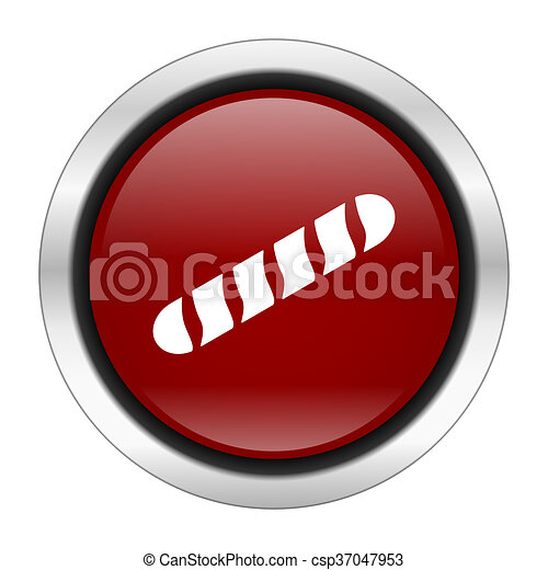 baguette icon, red round button isolated on white background, web design illustration - csp37047953