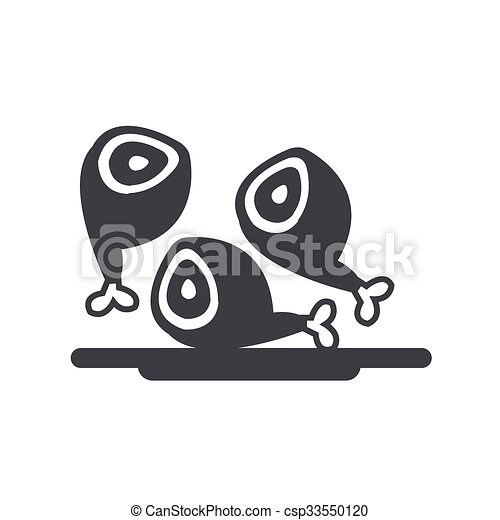 baguette, poulet, frit, icônes - csp33550120