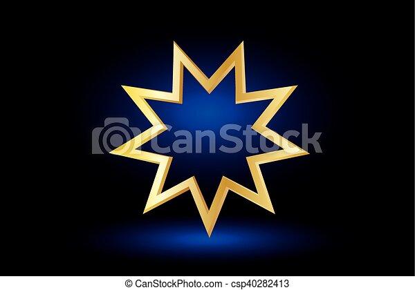 El símbolo Bahai, - csp40282413
