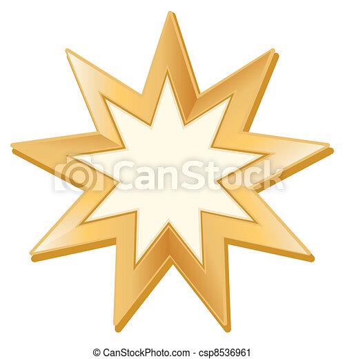 Bahai Symbol Golden Nine Pointed Star Symbol Of Bahai Vector