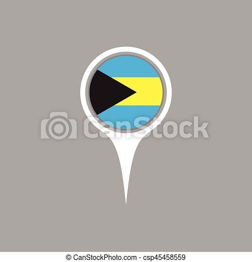 Bahamas flag location map icon , Vector illustration. - csp45458559