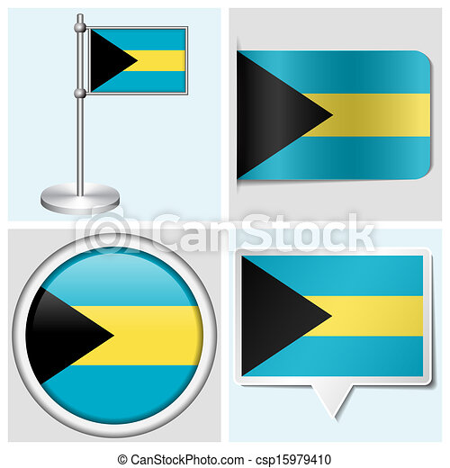 Bahamas flag set of various sticker button label and flagstaff csp15979410