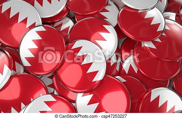 Bahrain Badges Background - Pile of Bahraini Flag Buttons. - csp47253227