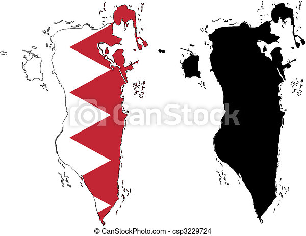 Vector Precise Map And Flag Of Bahrain With White Eps Vector - Bahrain map vector