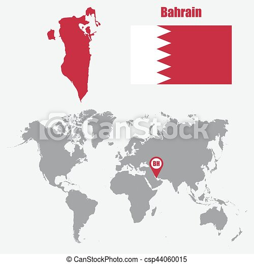 Bahrain map on a world map with flag and map pointer vector bahrain map on a world map with flag and map pointer vector illustration gumiabroncs Images
