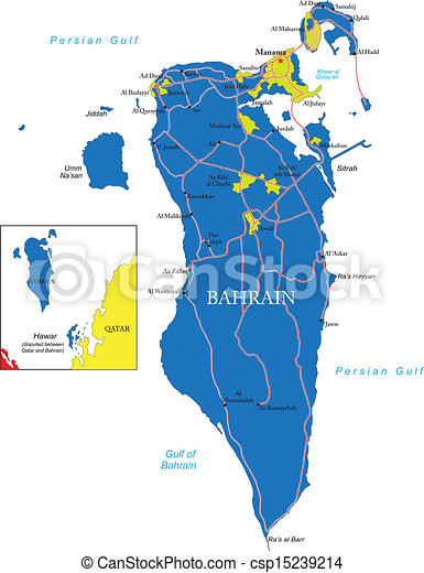 Bahrain Map Highly Detailed Vector Map Of Bahrain With