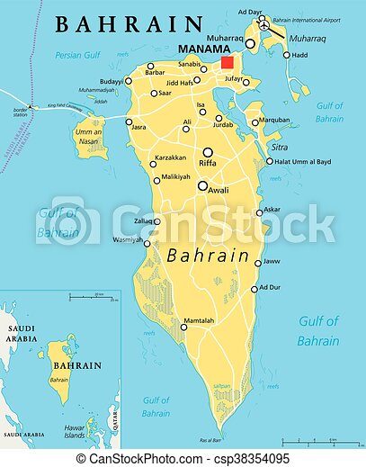 Bahrain Political Map on map of the middle east with names, map of east asia with labels, map of the middle east with flags, map of north africa and south west asia political, map of the usa with labels, map of east europe with labels, map of asia labeled,