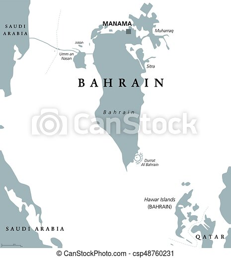 bahrain political map with capital manama kingdom in the arabian gulf island country and archipelago between qatar and saudi arabia gray illustration on