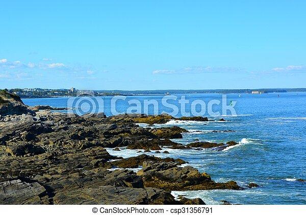 baia, shoreline, accidentato, casco - csp31356791