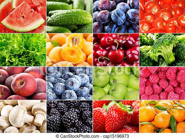 baies, herbes, légumes, fruits, divers - csp15196973