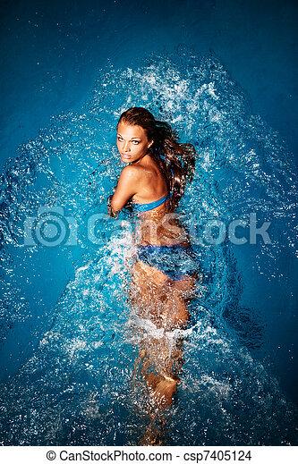 baigner, blue. - csp7405124