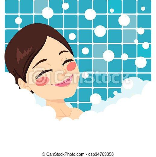baigner, femme relâche - csp34763358