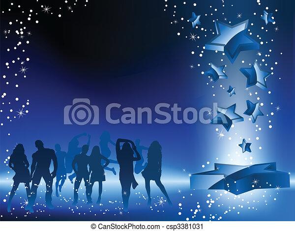 La multitud bailando estrella azul. - csp3381031