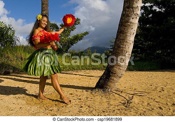 Bailarina de hula hawaiana - csp19681899