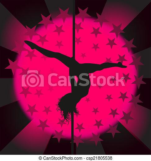 Bailarín sexy en barra, vector - csp21805538