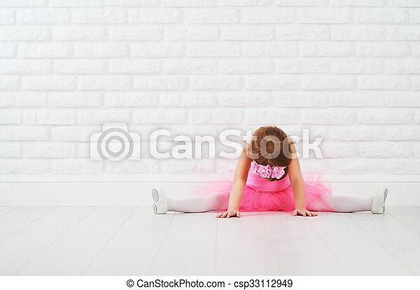 bailarina, ballet, extensión, poco, bailarín, niña - csp33112949
