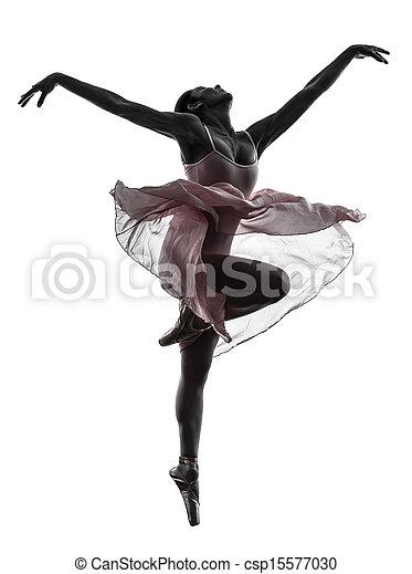 bailarina, ballet, mujer, silueta, bailando, bailarín - csp15577030